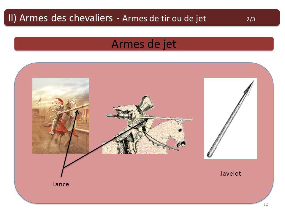 Armes de tir ou de jet Armes de jet II) Armes des chevaliers - Armes de tir ou de jet 2/3 12 Lance Javelot