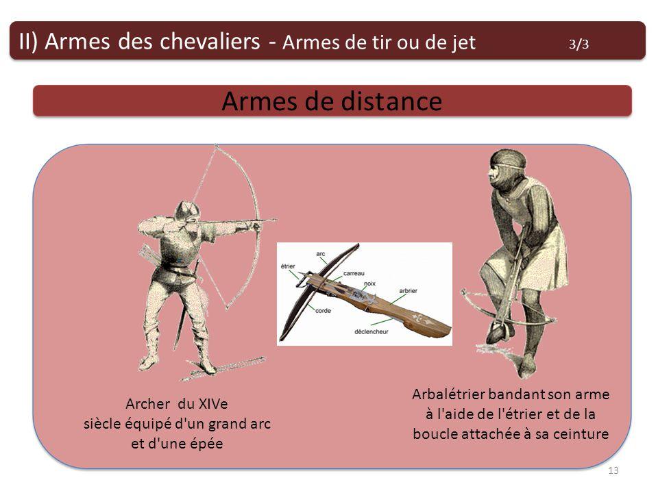 Armes de tir ou de jet Armes de distance II) Armes des chevaliers - Armes de tir ou de jet 3/3 13 Archer du XIVe siècle équipé d un grand arc et d une épée Arbalétrier bandant son arme à l aide de l étrier et de la boucle attachée à sa ceinture