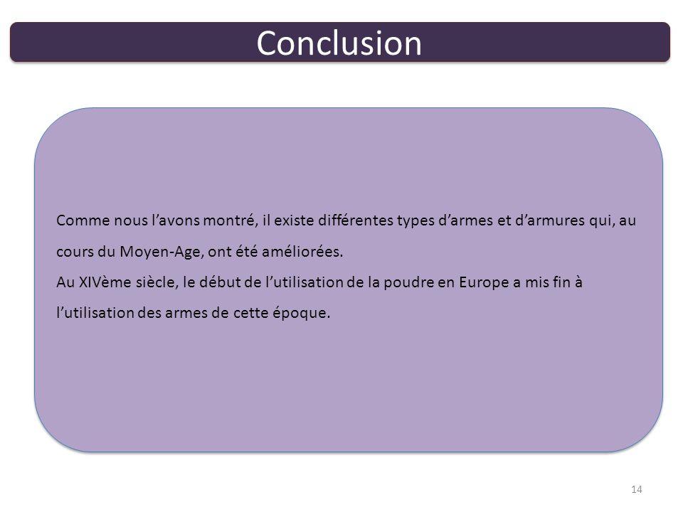 Conclusion 14 Comme nous lavons montré, il existe différentes types darmes et darmures qui, au cours du Moyen-Age, ont été améliorées.