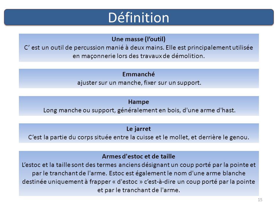 Définition Une masse (loutil) C est un outil de percussion manié à deux mains.