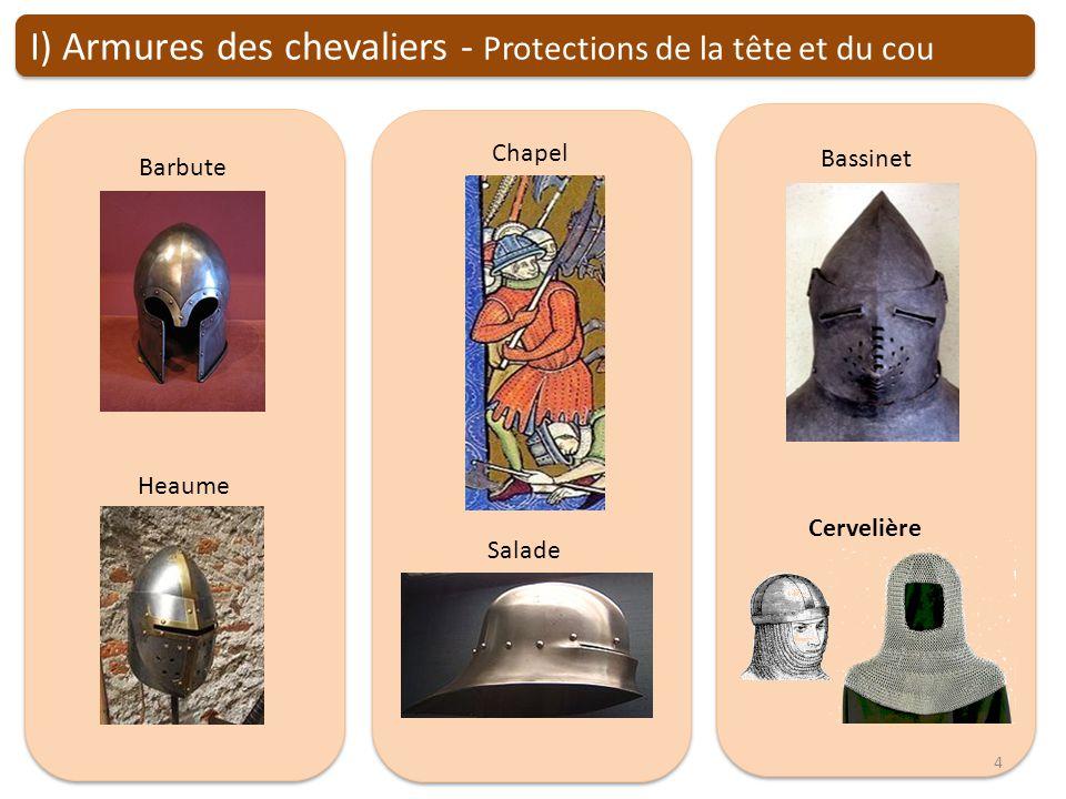 I) Armures des chevaliers - Protections de la tête et du cou Barbute Chapel Salade Bassinet Cervelière Heaume 4