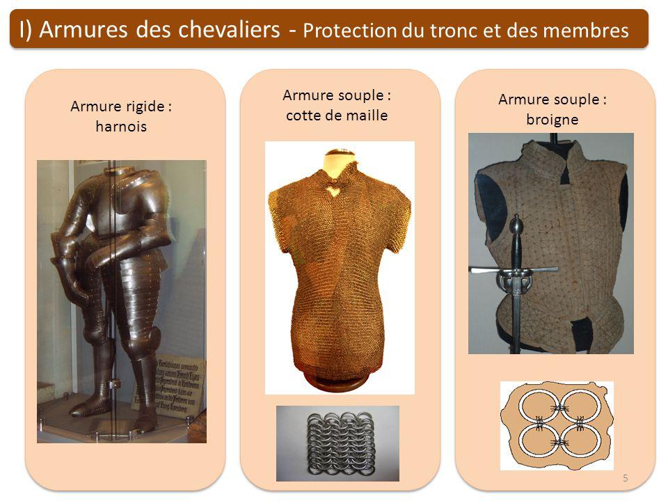 Armure rigide : harnois Armure souple : cotte de maille Armure souple : broigne I) Armures des chevaliers - Protection du tronc et des membres 5