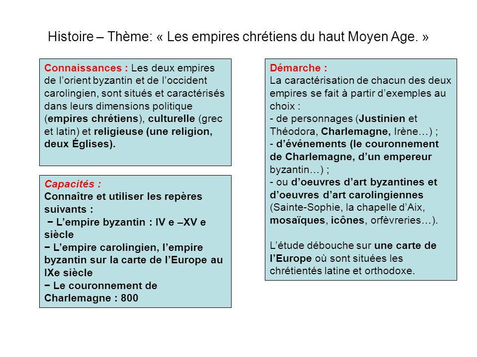 Histoire – Thème: « Les empires chrétiens du haut Moyen Age. » Démarche : La caractérisation de chacun des deux empires se fait à partir dexemples au