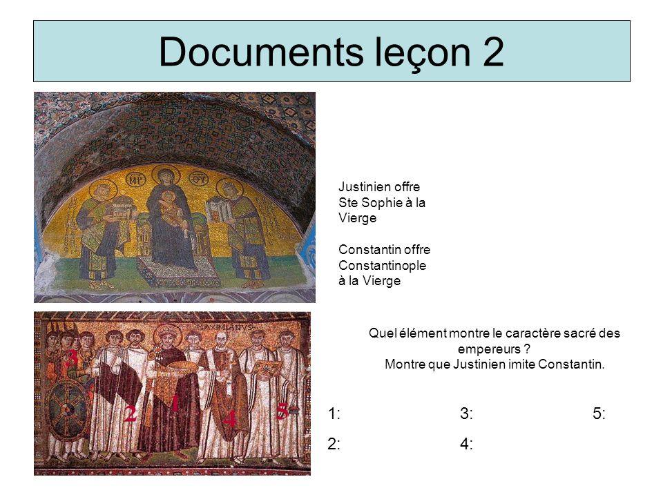 Documents leçon 2 Justinien offre Ste Sophie à la Vierge Constantin offre Constantinople à la Vierge Quel élément montre le caractère sacré des empere
