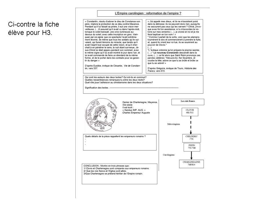 Ci-contre la fiche élève pour H3.