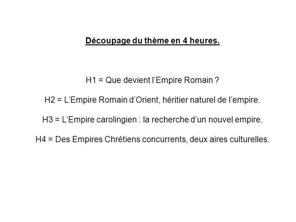 H1 = Que devient lEmpire Romain ? H2 = LEmpire Romain dOrient, héritier naturel de lempire. H3 = LEmpire carolingien : la recherche dun nouvel empire.