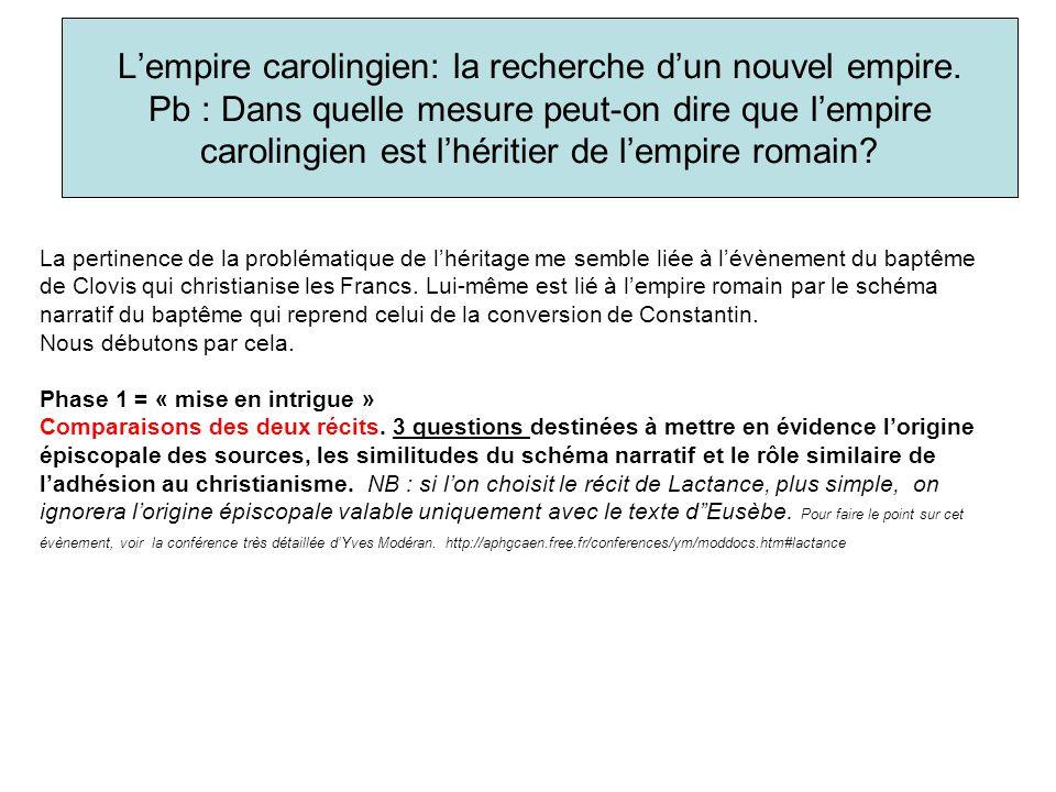Lempire carolingien: la recherche dun nouvel empire. Pb : Dans quelle mesure peut-on dire que lempire carolingien est lhéritier de lempire romain? La