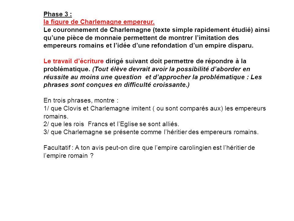 Phase 3 : la figure de Charlemagne empereur. Le couronnement de Charlemagne (texte simple rapidement étudié) ainsi quune pièce de monnaie permettent d