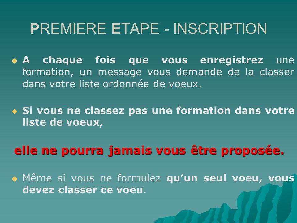 PREMIERE ETAPE - INSCRIPTION A chaque fois que vous enregistrez une formation, un message vous demande de la classer dans votre liste ordonnée de voeux.