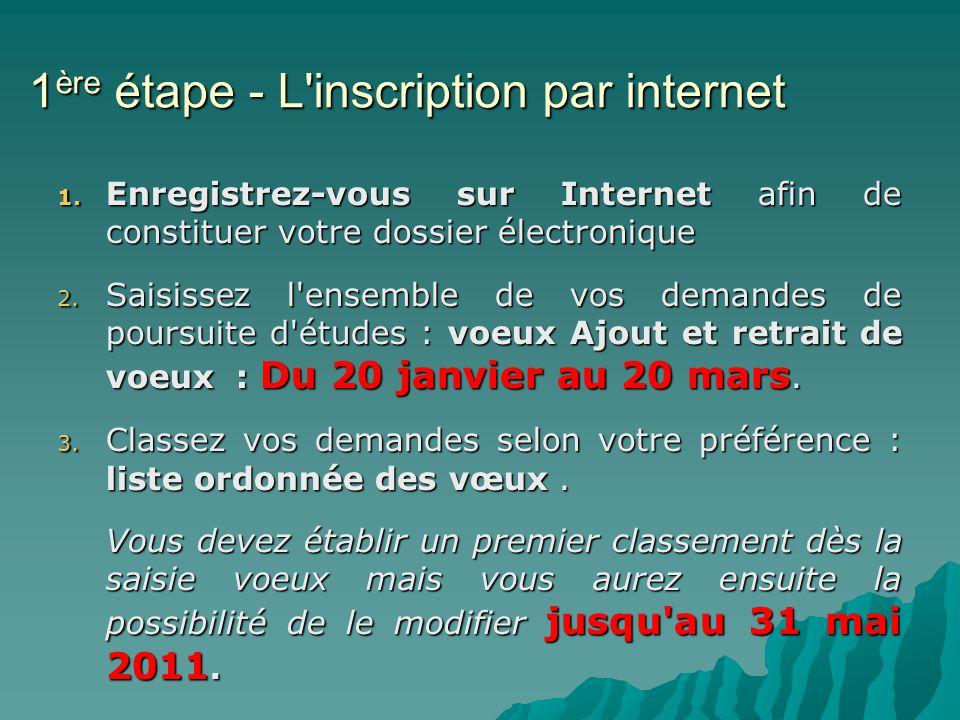 1 ère étape - L inscription par internet 1.