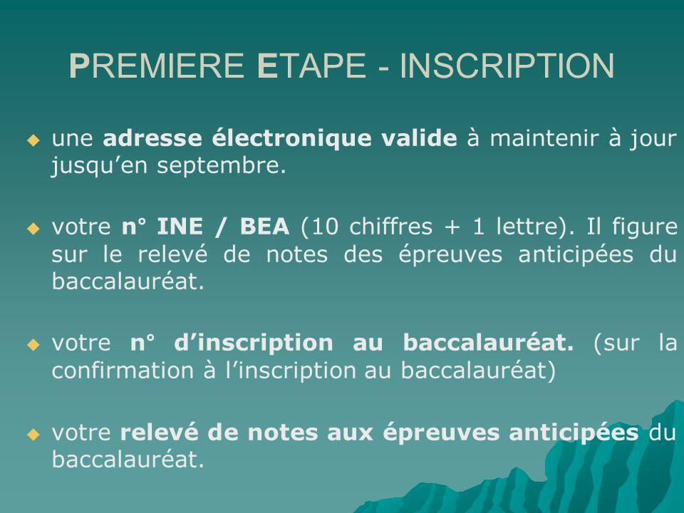 PREMIERE ETAPE - INSCRIPTION une adresse électronique valide à maintenir à jour jusquen septembre.