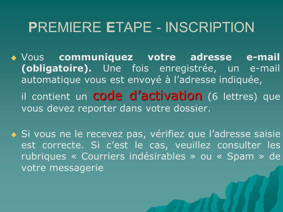 PREMIERE ETAPE - INSCRIPTION Vous communiquez votre adresse e-mail (obligatoire).