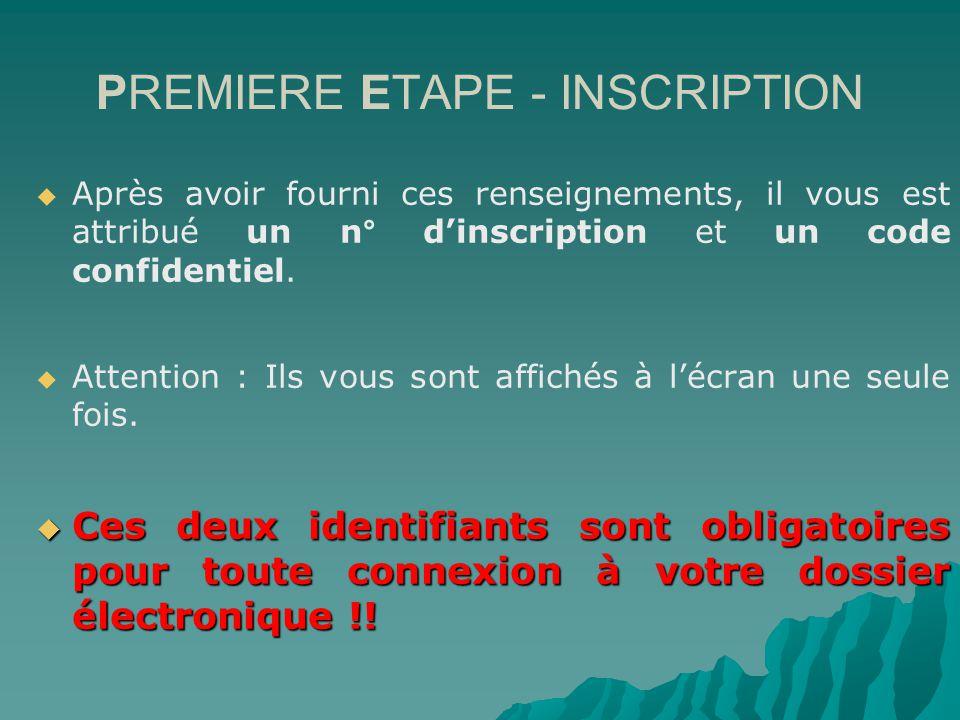 PREMIERE ETAPE - INSCRIPTION Après avoir fourni ces renseignements, il vous est attribué un n° dinscription et un code confidentiel.