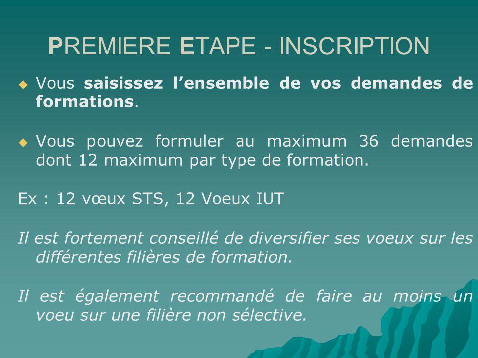 PREMIERE ETAPE - INSCRIPTION Vous saisissez lensemble de vos demandes de formations.