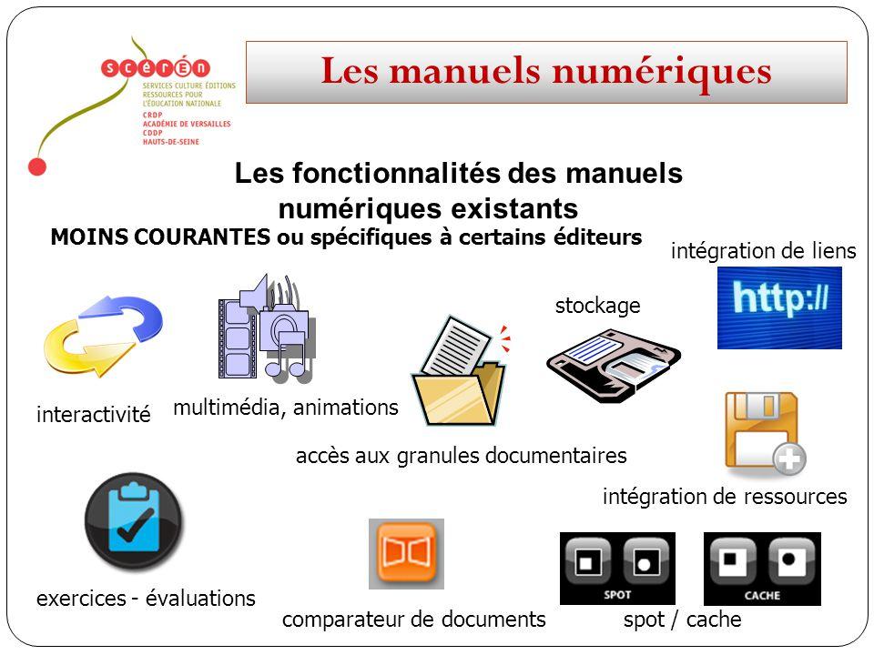 Les manuels numériques Les fonctionnalités des manuels numériques existants MOINS COURANTES ou spécifiques à certains éditeurs interactivité multimédi