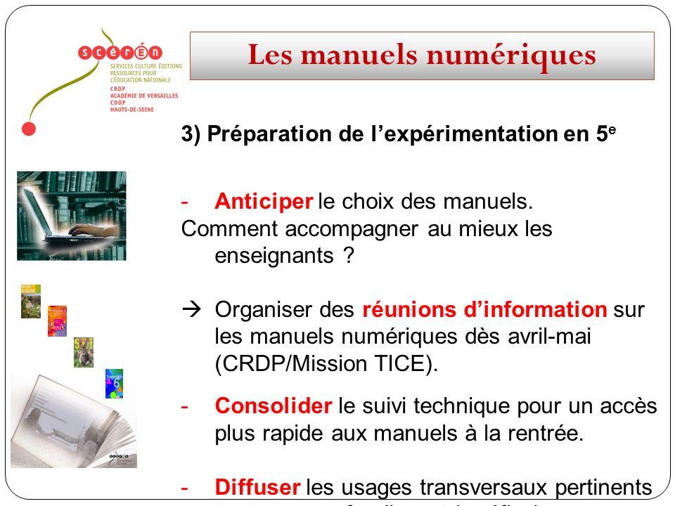 Les manuels numériques 3) Préparation de lexpérimentation en 5 e -Anticiper le choix des manuels. Comment accompagner au mieux les enseignants ? Organ