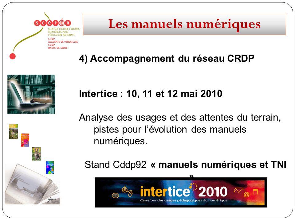 Les manuels numériques 4) Accompagnement du réseau CRDP Intertice : 10, 11 et 12 mai 2010 Analyse des usages et des attentes du terrain, pistes pour l