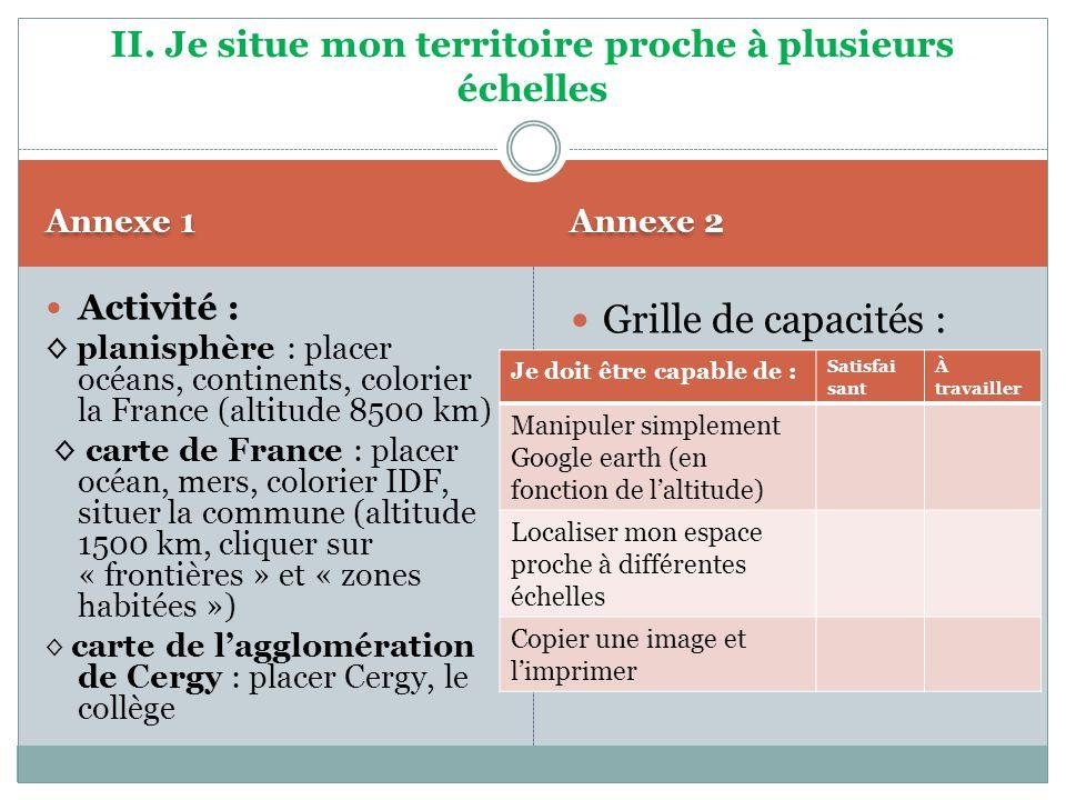 Annexe 1 Annexe 2 Activité : planisphère : placer océans, continents, colorier la France (altitude 8500 km) carte de France : placer océan, mers, colo