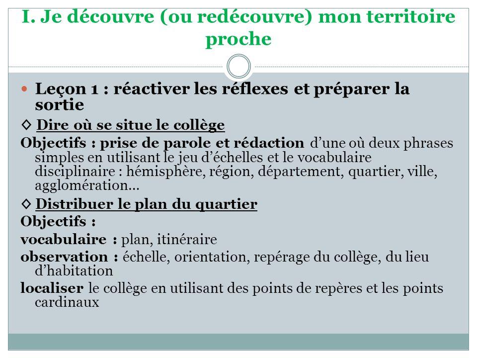 I. Je découvre (ou redécouvre) mon territoire proche Leçon 1 : réactiver les réflexes et préparer la sortie Dire où se situe le collège Objectifs : pr