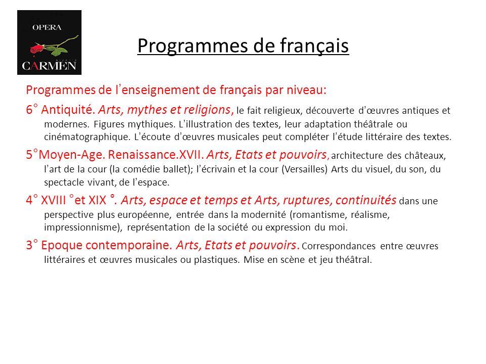 Programmes de français Programmes de lenseignement de français par niveau: 6° Antiquité. Arts, mythes et religions, le fait religieux, découverte dœuv