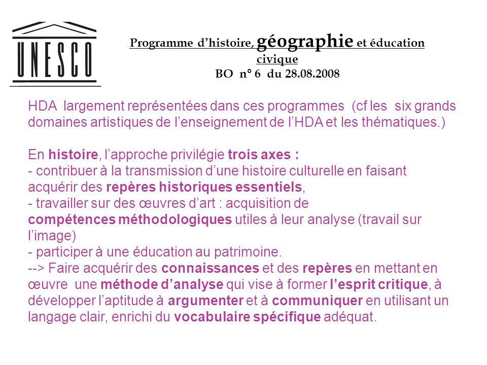 HDA largement représentées dans ces programmes (cf les six grands domaines artistiques de lenseignement de lHDA et les thématiques.) En histoire, lapp