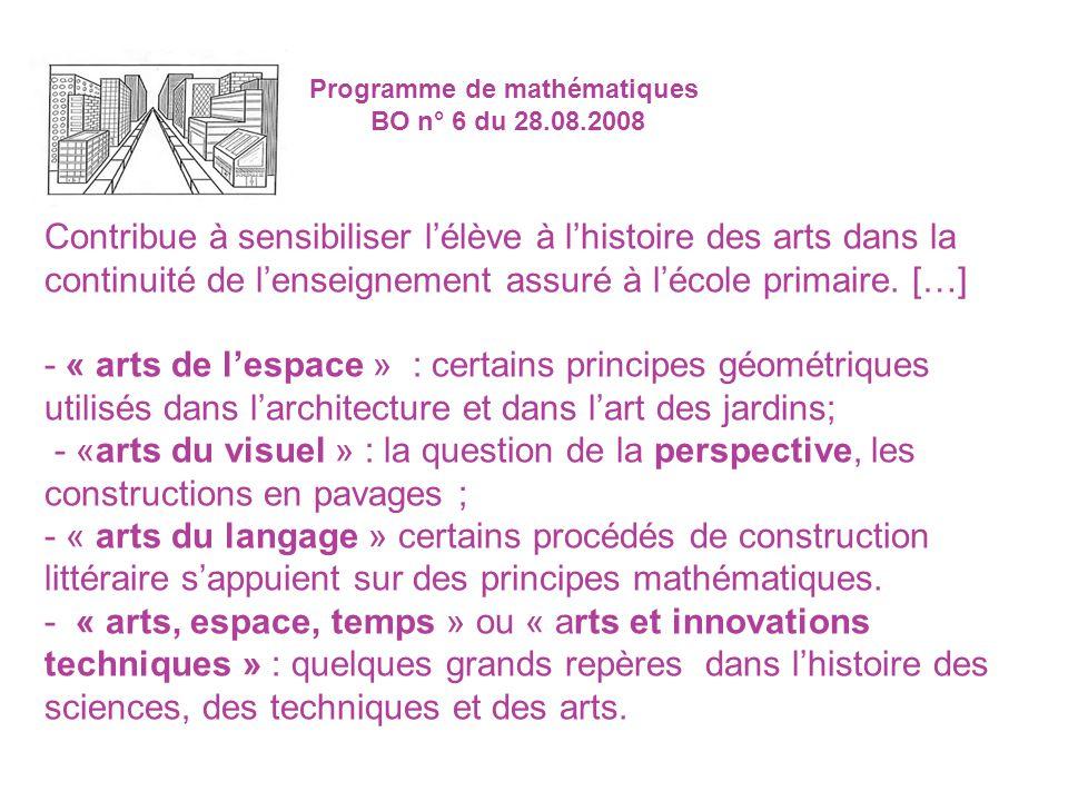 Programme de mathématiques BO n° 6 du 28.08.2008 Contribue à sensibiliser lélève à lhistoire des arts dans la continuité de lenseignement assuré à léc