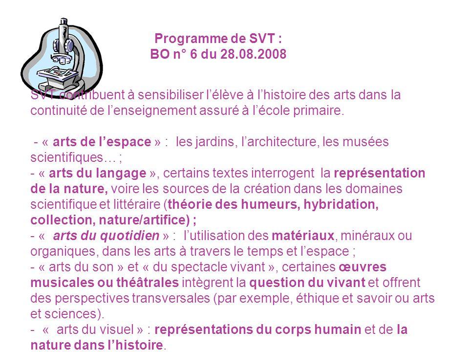 SVT contribuent à sensibiliser lélève à lhistoire des arts dans la continuité de lenseignement assuré à lécole primaire. - « arts de lespace » : les j