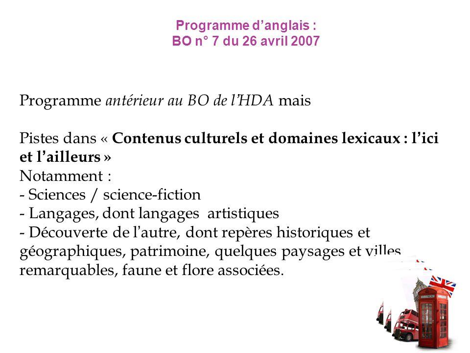 Programme danglais : BO n° 7 du 26 avril 2007 Programme antérieur au BO de lHDA mais Pistes dans « Contenus culturels et domaines lexicaux : lici et l