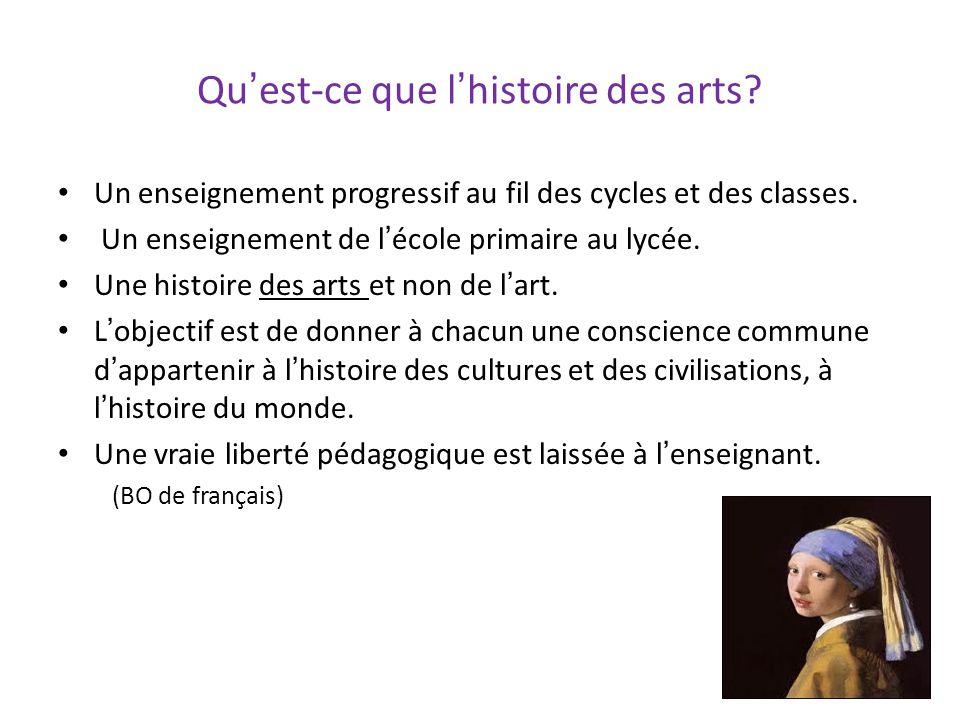 Quest-ce que lhistoire des arts? Un enseignement progressif au fil des cycles et des classes. Un enseignement de lécole primaire au lycée. Une histoir