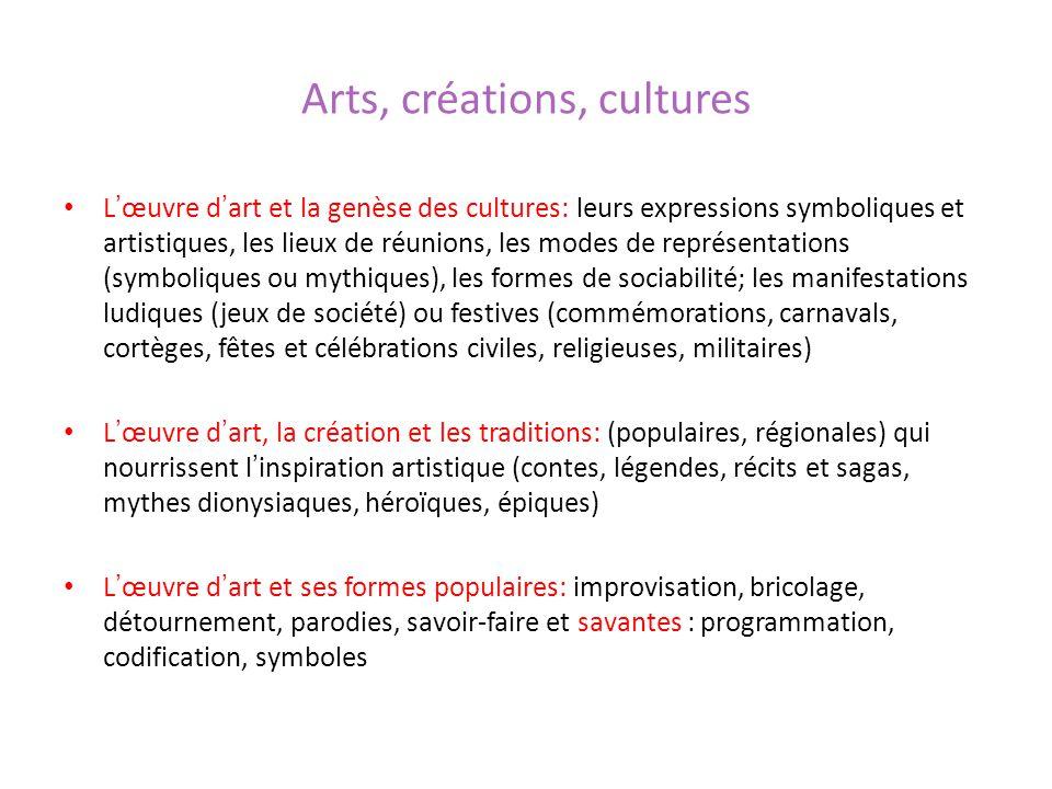 Arts, créations, cultures Lœuvre dart et la genèse des cultures: leurs expressions symboliques et artistiques, les lieux de réunions, les modes de rep