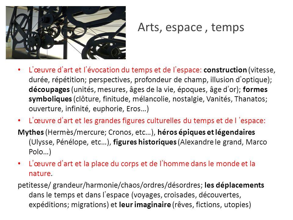 Arts, espace, temps Lœuvre dart et lévocation du temps et de lespace: construction (vitesse, durée, répétition; perspectives, profondeur de champ, ill