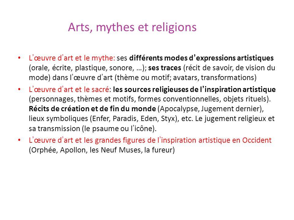 Arts, mythes et religions Lœuvre dart et le mythe: ses différents modes dexpressions artistiques (orale, écrite, plastique, sonore, …); ses traces (ré