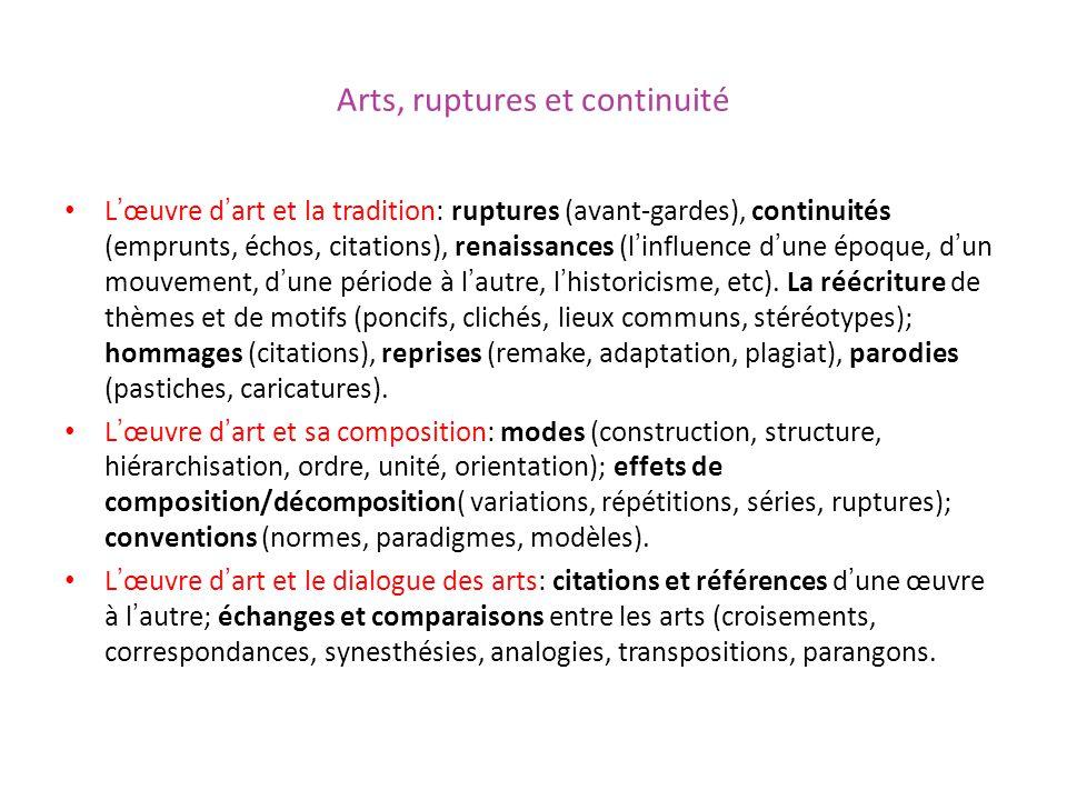 Arts, ruptures et continuité Lœuvre dart et la tradition: ruptures (avant-gardes), continuités (emprunts, échos, citations), renaissances (linfluence