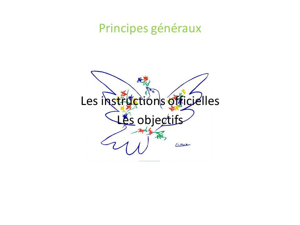 Principes généraux Les instructions officielles Les objectifs
