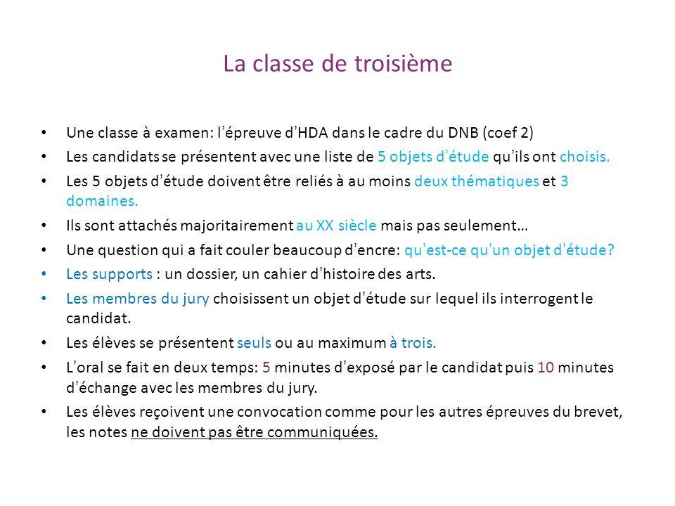 La classe de troisième Une classe à examen: lépreuve dHDA dans le cadre du DNB (coef 2) Les candidats se présentent avec une liste de 5 objets détude