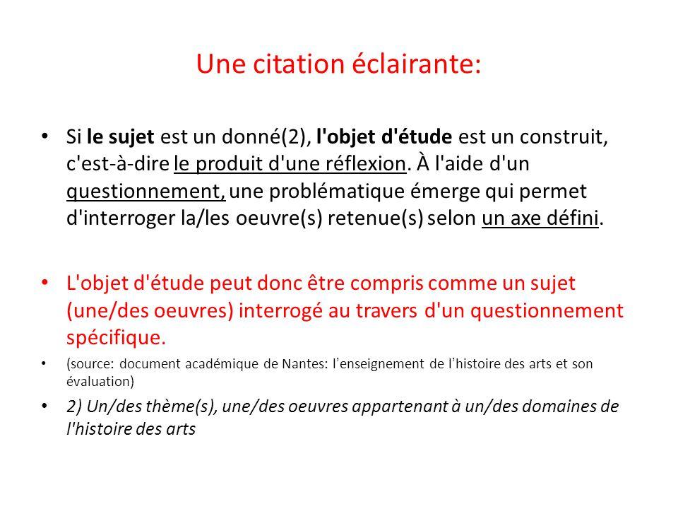 Une citation éclairante: Si le sujet est un donné(2), l'objet d'étude est un construit, c'est-à-dire le produit d'une réflexion. À l'aide d'un questio