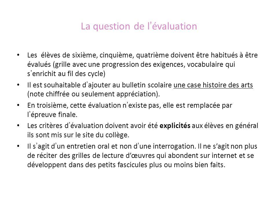 La question de lévaluation Les élèves de sixième, cinquième, quatrième doivent être habitués à être évalués (grille avec une progression des exigences