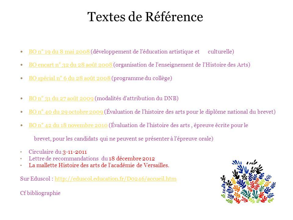 Textes de Référence BO n° 19 du 8 mai 2008 (développement de léducation artistique et culturelle) BO n° 19 du 8 mai 2008 BO encart n° 32 du 28 août 20