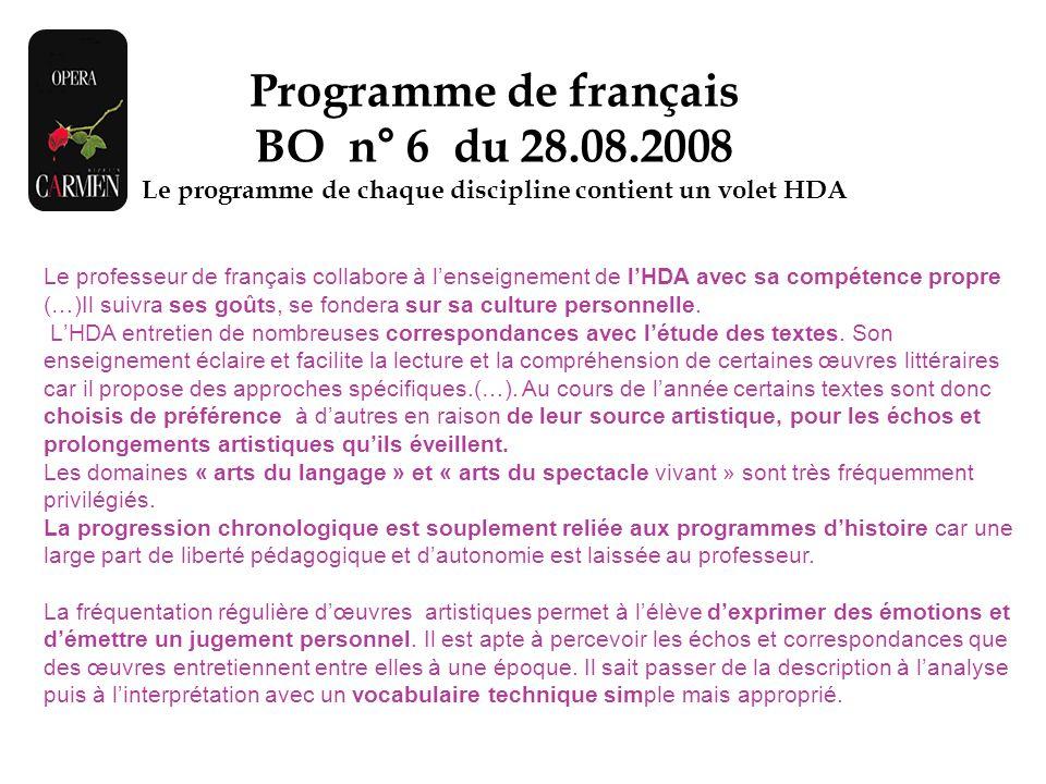 Programme de français BO n° 6 du 28.08.2008 Le programme de chaque discipline contient un volet HDA Le professeur de français collabore à lenseignemen