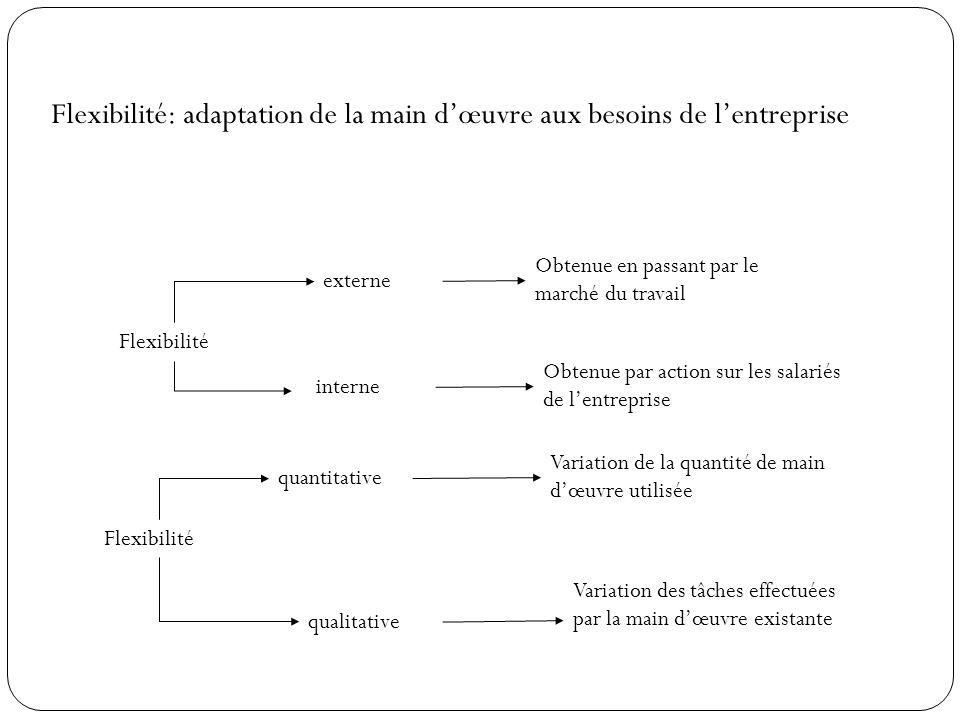 Flexibilité externe interne Obtenue en passant par le marché du travail Obtenue par action sur les salariés de lentreprise Flexibilité quantitative qualitative Variation de la quantité de main dœuvre utilisée Variation des tâches effectuées par la main dœuvre existante Flexibilité: adaptation de la main dœuvre aux besoins de lentreprise