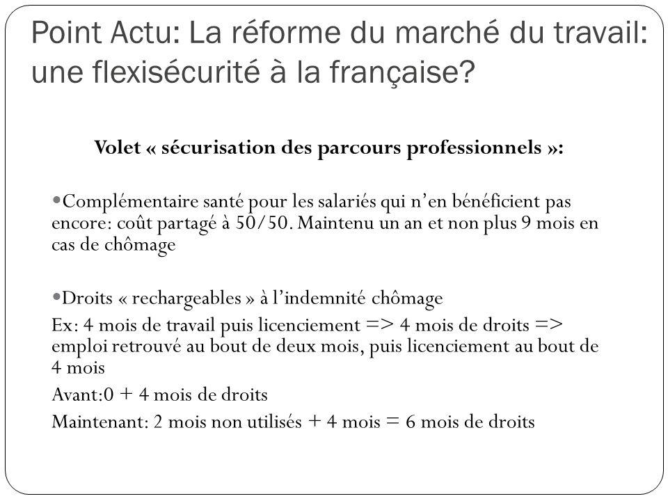 Point Actu: La réforme du marché du travail: une flexisécurité à la française? Volet « sécurisation des parcours professionnels »: Complémentaire sant