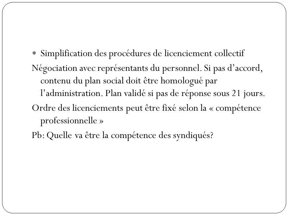 Simplification des procédures de licenciement collectif Négociation avec représentants du personnel. Si pas daccord, contenu du plan social doit être