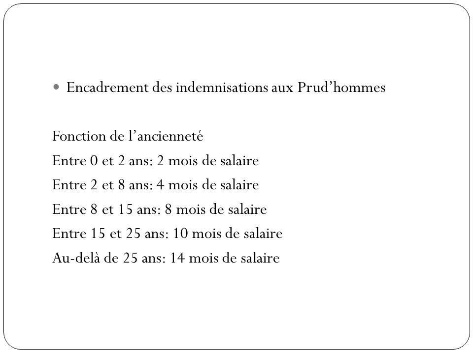 Encadrement des indemnisations aux Prudhommes Fonction de lancienneté Entre 0 et 2 ans: 2 mois de salaire Entre 2 et 8 ans: 4 mois de salaire Entre 8 et 15 ans: 8 mois de salaire Entre 15 et 25 ans: 10 mois de salaire Au-delà de 25 ans: 14 mois de salaire