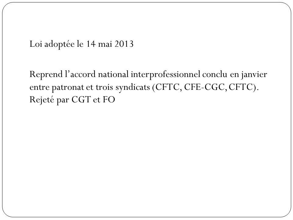 Loi adoptée le 14 mai 2013 Reprend laccord national interprofessionnel conclu en janvier entre patronat et trois syndicats (CFTC, CFE-CGC, CFTC).