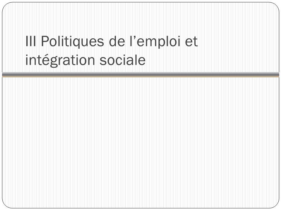 III Politiques de lemploi et intégration sociale