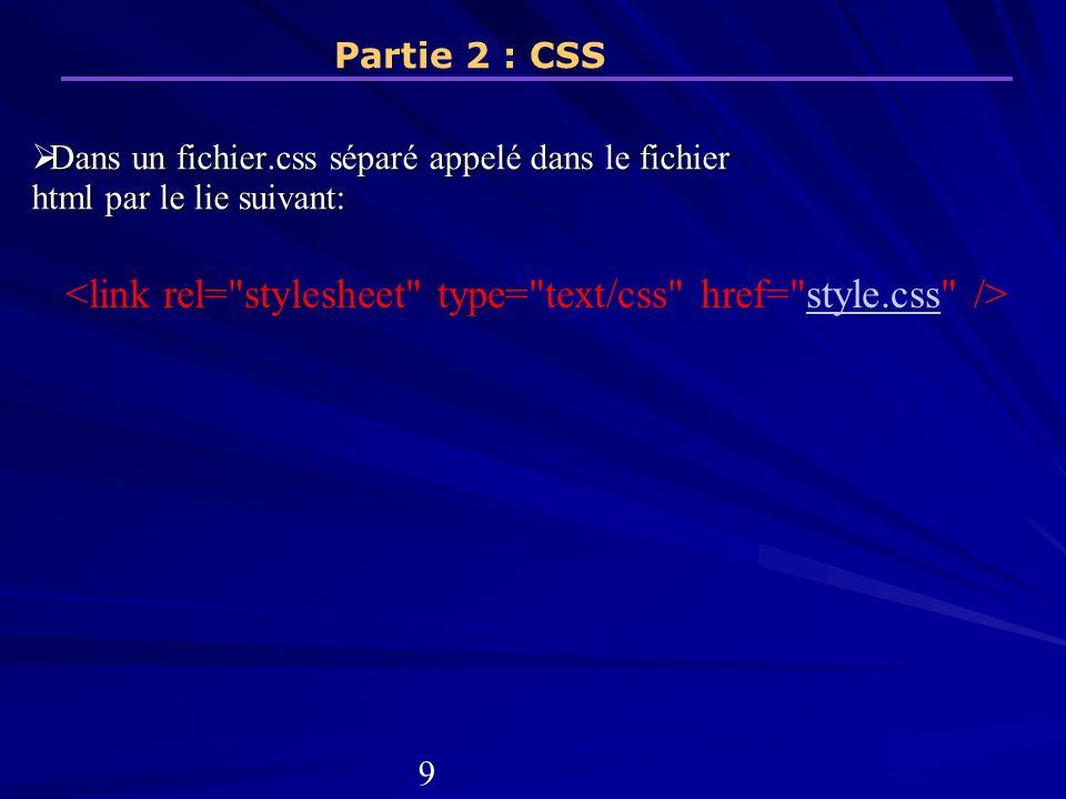 Dans un fichier.css séparé appelé dans le fichier html par le lie suivant: Dans un fichier.css séparé appelé dans le fichier html par le lie suivant: