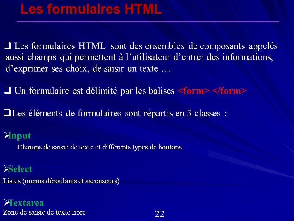 Les formulaires HTML sont des ensembles de composants appelés aussi champs qui permettent à lutilisateur dentrer des informations, dexprimer ses choix
