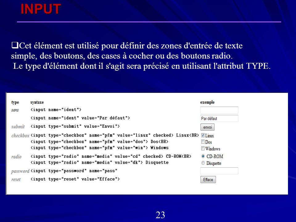 INPUT 23 Cet élément est utilisé pour définir des zones d'entrée de texte simple, des boutons, des cases à cocher ou des boutons radio. Le type d'élém