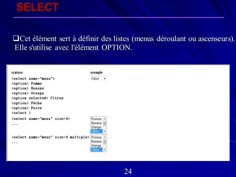 SELECT 24 Cet élément sert à définir des listes (menus déroulant ou ascenseurs). Elle s'utilise avec l'élément OPTION.