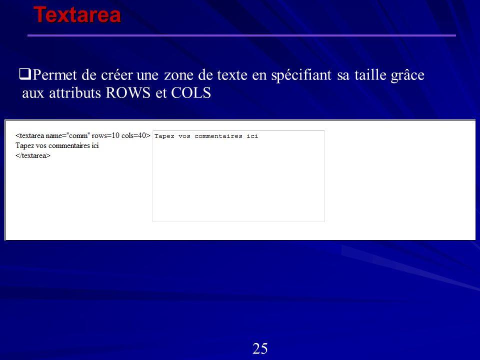 Textarea 25 Permet de créer une zone de texte en spécifiant sa taille grâce aux attributs ROWS et COLS